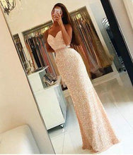 Load image into Gallery viewer, Sweetheart Sequin New Gorgeous Long Sweet 16 Gowns Mermaid Backless Prom Dresses RS20
