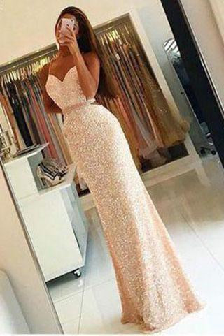 Sweetheart Sequin New Gorgeous Long Sweet 16 Gowns Mermaid Backless Prom Dresses RS20