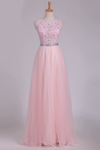 2019 Prom Dresses A Line Scoop Beaded Bodice Floor Length Tulle