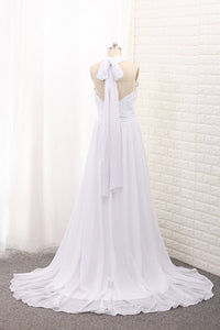 2019 Chiffon Halter With Ruffles And Slit Court Train Wedding Dresses