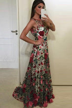 Load image into Gallery viewer, 2019 Beautiful Prom Dresses Scoop Aline Rose Floral Embroidery Lace Prom Dress