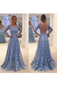 2019 Scoop Long Sleeves Lace With Sash A Line Sweep Train Prom Dresses