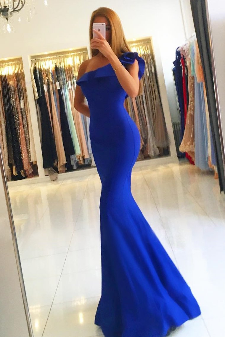 2019 New Arrival One Shoulder Evening Dresses Mermaid Satin