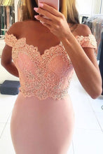 Load image into Gallery viewer, 2019 Off The Shoulder Mermaid Prom Dresses Spandex With Applique