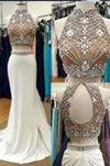 Fabulous Two Piece High Neck Mermaid White Prom Dress with Beading Open Back RS606