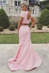 New Arrival 2 Piece Sweep Train Pearl Pink Prom Dress with Pearl Open Back RS600