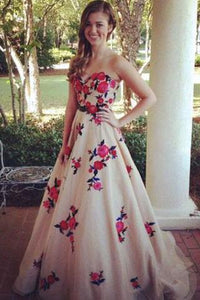 High Quality Sweetheart Sweep Train Champagne Prom Dresses RS592