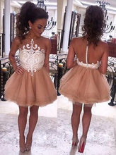 Load image into Gallery viewer, Modern Illusion Neck Sleeveless Short Champagne Prom Dresses RS588
