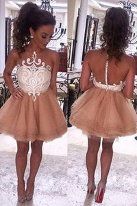 Modern Illusion Neck Sleeveless Short Champagne Prom Dresses RS588