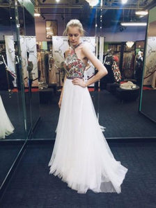 Nectarean Halter Sleeveless Sweep Train White Prom Dress with Printed Flowers RS586