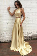 Load image into Gallery viewer, New Arrival Gold Two Pieces High Neck Pretty Sparkly Evening Party Prom Dress PD0062