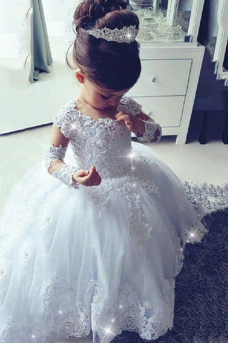2019 Ball Gown Flower Girl Dresses Scoop Long Sleeves Tulle With Applique