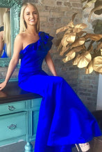 Load image into Gallery viewer, Beautiful Sheath Long One Shoulder Royal Blue Prom Dresses Women Dresses