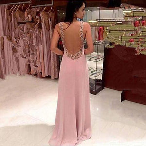 Pink Long Chiffon See Through Sexy V-Neck Sleeveless A-Line Yarn Prom Dresses RS18