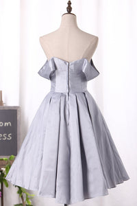 2019 A Line Off The Shoulder Taffeta Cocktail Dresses Asymmetrical