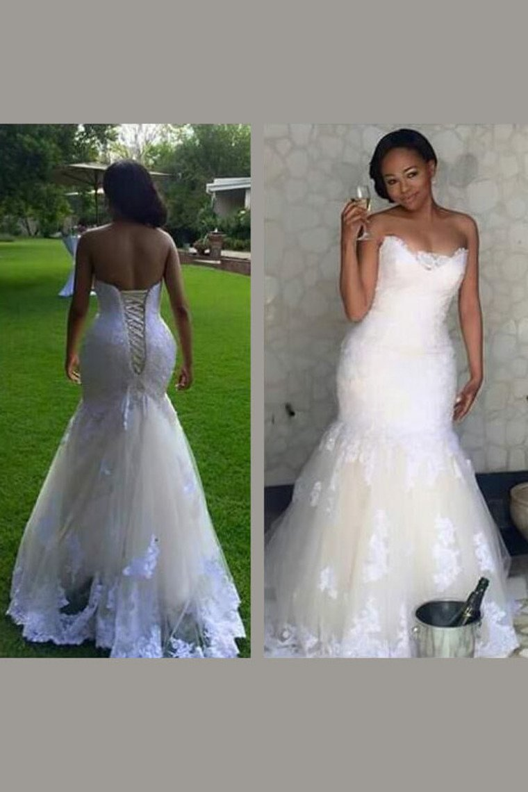 2019 Wedding Dresses Sweetheart Tulle With Applique Mermaid Sweep Train Lace Up