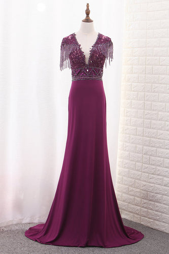 2019 Spandex V Neck Short Sleeves Mermaid With Beads And Applique Prom Dresses
