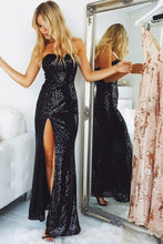 Load image into Gallery viewer, Sparkly Black Sequin Shiny Long Sweetheart Sheath Open Back Prom Dresses