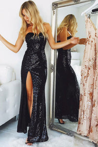 Sparkly Black Sequin Shiny Long Sweetheart Sheath Open Back Prom Dresses