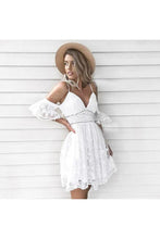 Load image into Gallery viewer, A-Line Spaghetti Straps Short White Lace Homecoming Dress