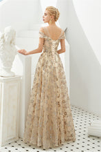 Load image into Gallery viewer, Elegant A Line V Neck Off the Shoulder Beads Prom Dresses with Lace SRS20414