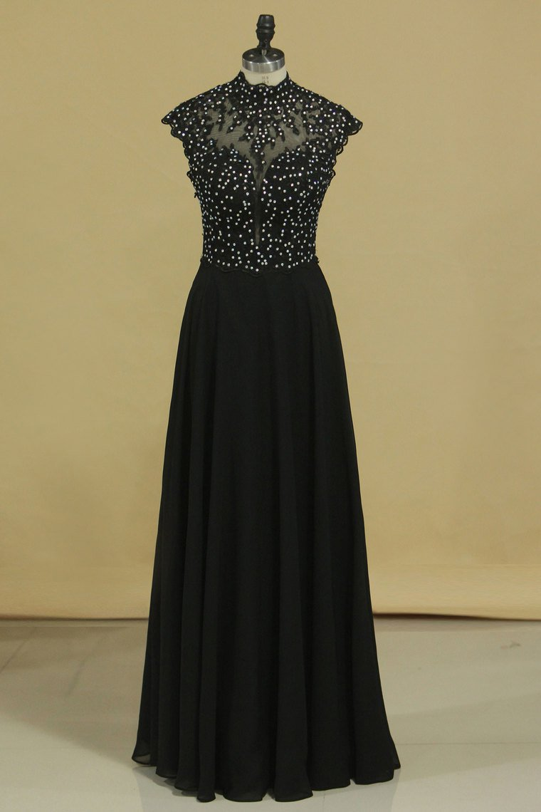 2019 Black High Neck Prom Dresses A Line Chiffon With Applique And Beads