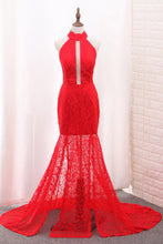 Load image into Gallery viewer, 2019 Mermaid High Neck Prom Dresses Lace With Slit Sweep Train