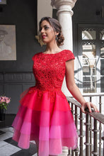 Load image into Gallery viewer, 2020 Red Lace Appliques Top Cap Sleeves Multi Colors Tulle Short Homecoming SRS10094