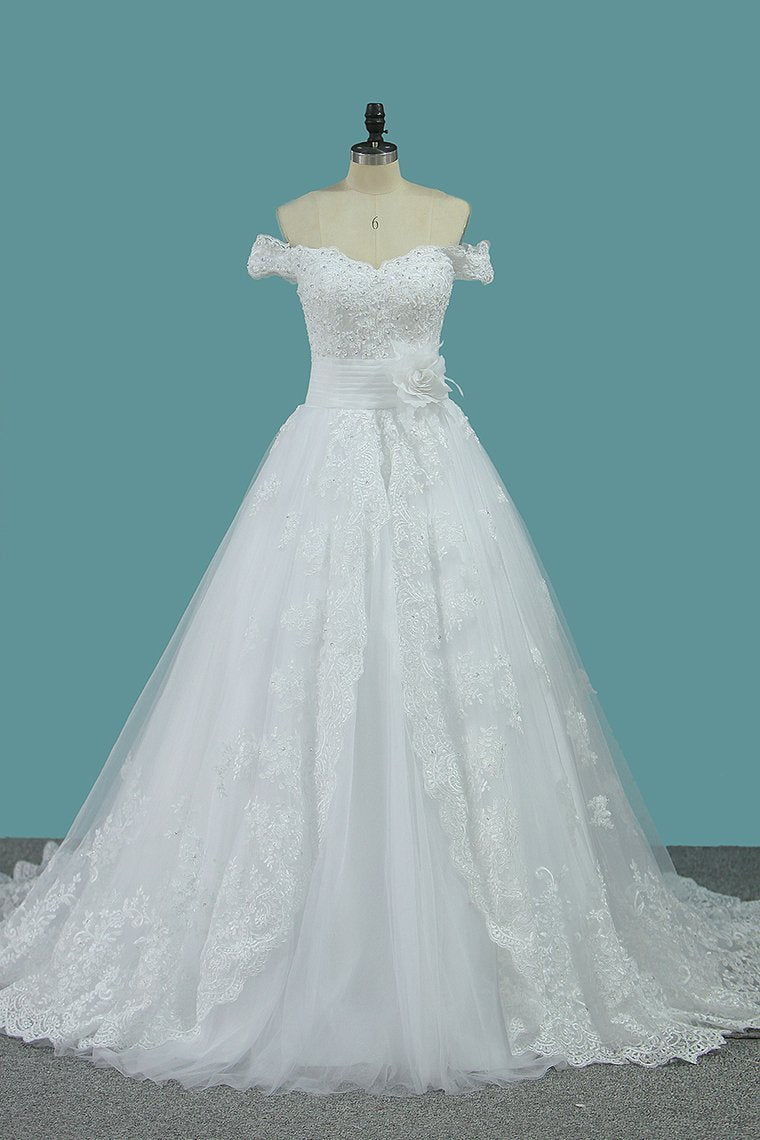 2019 Off The Shoulder A Line Tulle Wedding Dresses With Applique