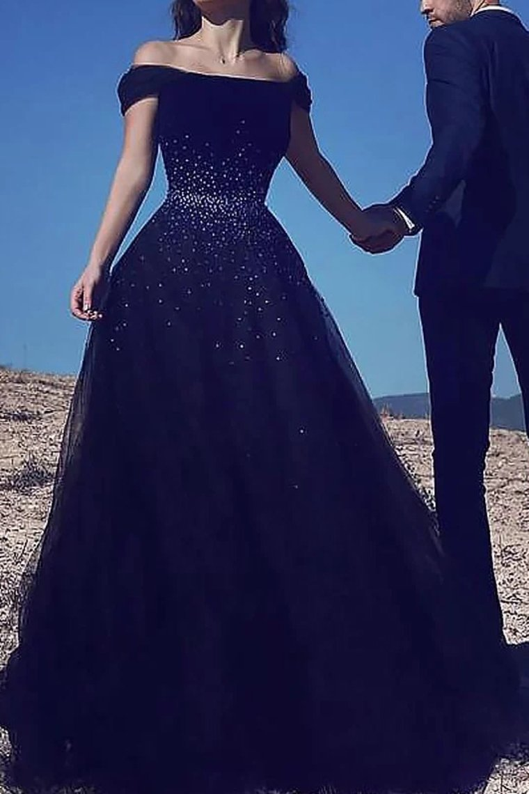 2019 A-Line Ball Gown Sleeveless Off-The-Shoulder Beading Sweep/Brush Train Tulle Dresses Evening Dress