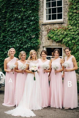 A Line Pink One Shoulder Chiffon Long Simple Bridesmaid Dresses, Wedding Party Dresses SRS15552