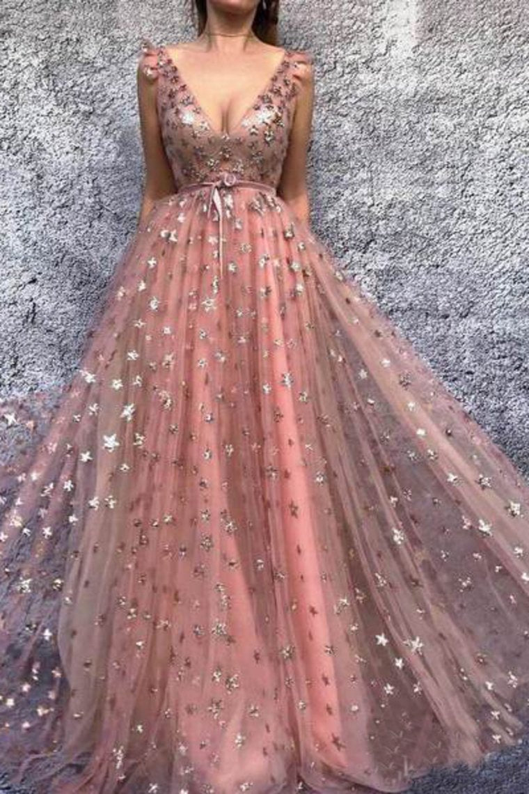 2019 Gold Star Printed Lace Prom Dresses V Neck Long Princess Ball Gown Evening Dress