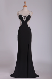 2019 Sexy Open Back Spaghetti Straps Prom Dresses With Applique Chiffon Floor Length