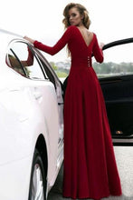 Load image into Gallery viewer, Burgundy Prom Dresses With Slit V Neck Cheap Long Sleeve Prom Dress Evening Dress