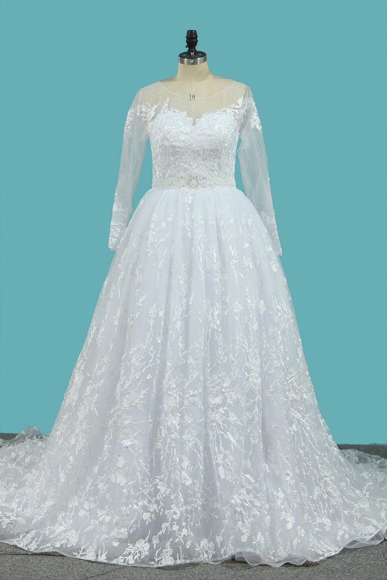 2019 Lace Wedding Dresses Long Sleeves Scoop A Line With Applique And Beads Court Train