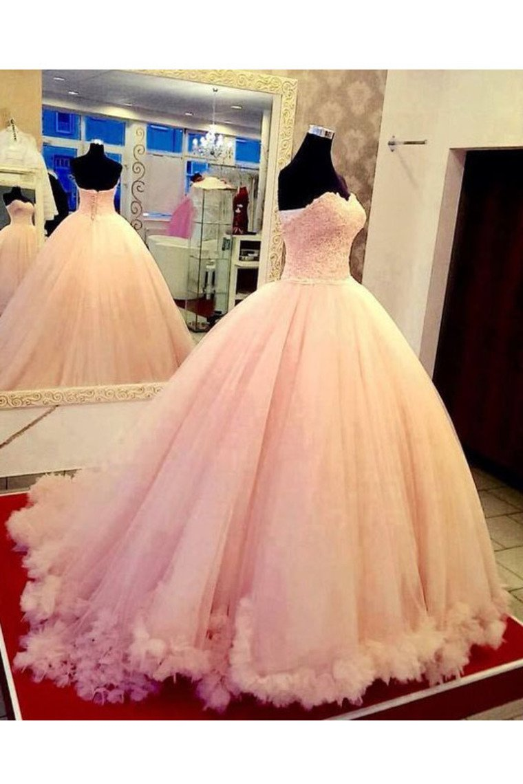 2019 Quinceanera Dresses Sweetheart Tulle With Applique Ball Gown