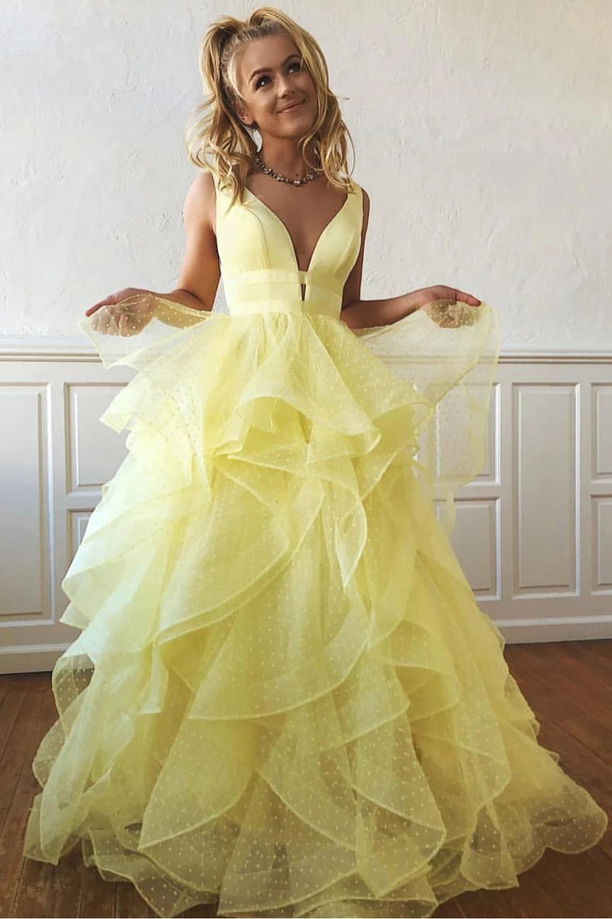 A Line Yellow Multi-layered Polka Dot Organza Prom Dresses Long Sweet 16 SRS20388
