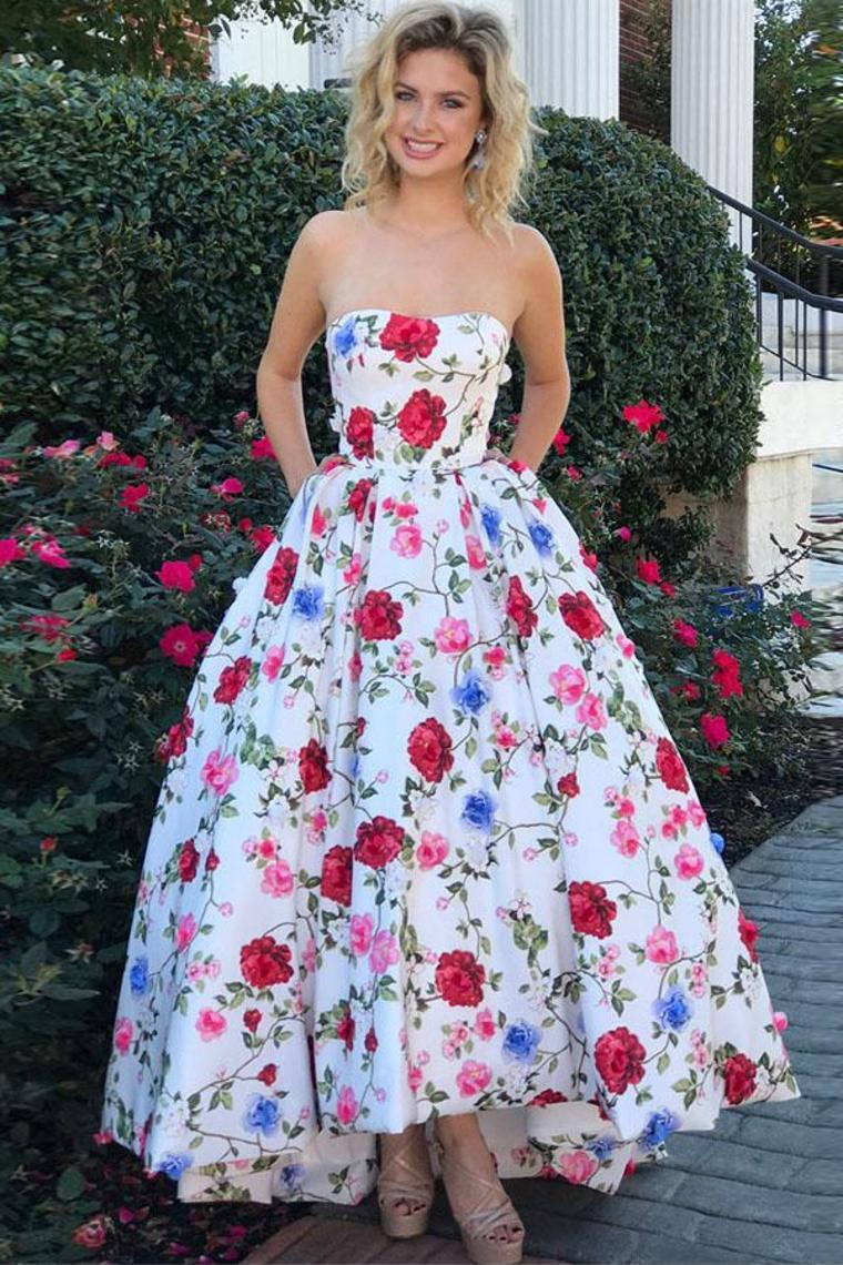 2019 High Low Prom Dresses Strapless A-Line Floral Print Long Ball Gown
