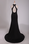 2019 Sexy Open Back Prom Dresses Halter  Sheath Spandex With Slit