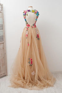 Lovely Open Back Charming Tulle Elegant Prom Dresses Applique Prom Gowns