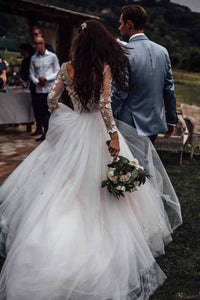 Elegant See Through Long Sleeve Wedding Dresses Lace Applique Bridal Dress
