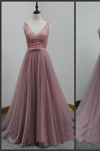 V-Back Tulle A-line Discount Party Cocktail Evening Long Prom Dresses Online PD0173