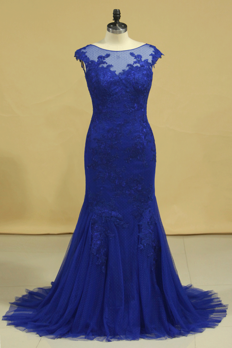 2019 Plus Size Mermaid Open Back Evening Dresses Bateau Tulle With Applique Dark Royal Blue