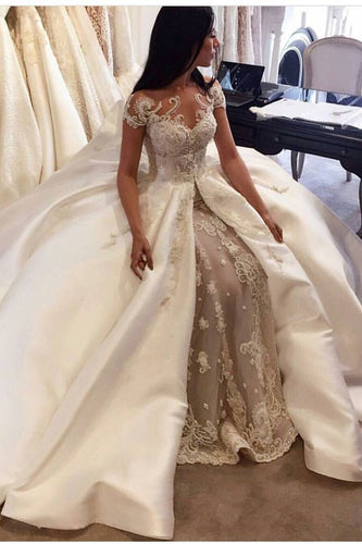 2019 Luxury Wedding Dresses A-Line Scoop  Cathedral Train Satin  And Tulle With Applique
