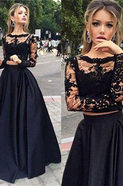 Black two pieces long sleeve prom dress A-line lace two pieces long prom dress grad dresses RS104