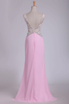 2019 V Neck Open Back Sheath Prom Dresses Chiffon With Beads And Slit