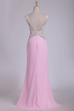 Load image into Gallery viewer, 2019 V Neck Open Back Sheath Prom Dresses Chiffon With Beads And Slit