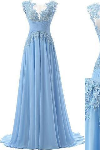 Fashion A-line Scoop Sweep Train Appliques Chiffon Sleeveless Light Blue Prom Dresses RS160