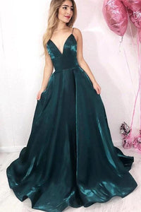 Long Green Spaghetti Straps V Neck Satin Prom Dresses, Evening Party SRS20422
