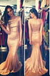Sequins Prom Dresses Long Sleeves Simple Long Mermaid Evening Gowns RS152